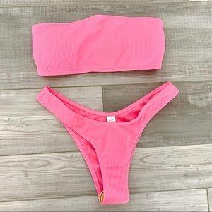 Pink Ribbed Bikini NWT